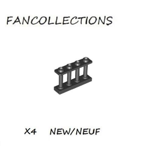 15332  NEUF Black Fence Spindled 1x4x2 with 4 Studs Lego x 4