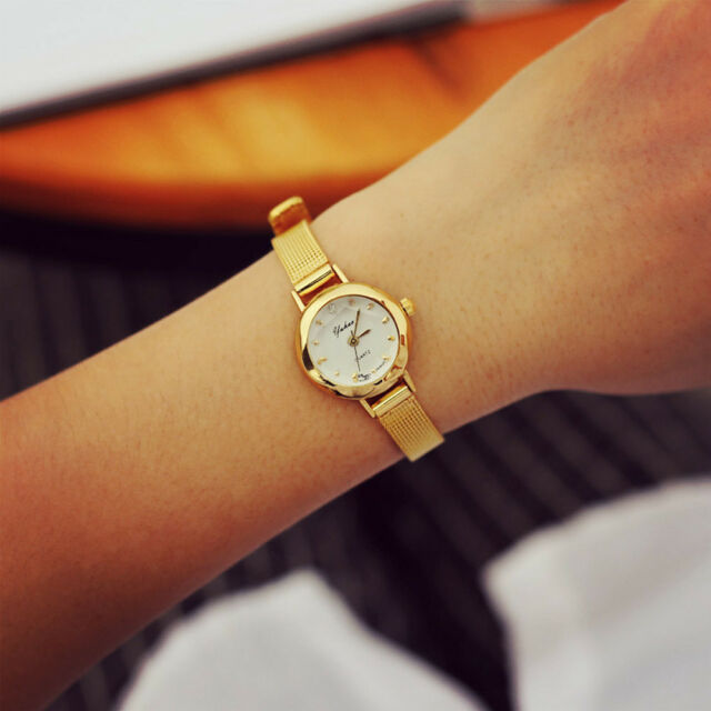 Women's Gold Quartz Analog Wrist Watch Life Waterproof Small Fashion Watch