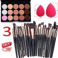 15 Colors Professional Contour Face Cream Makeup Concealer Palette 20 Brush