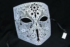 Mens White Bauta Venetian Masquerade Mask Metal Filigree Fancy Dress Casanova