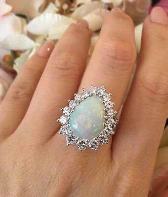 Pearshape White Opal and Diamond Halo Ring 7.20 cttw in 14K White Gold  - HM1516