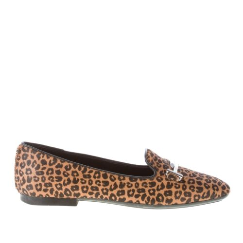 TOD'S women shoes Brown animalier print calf hide flat loafer with double T