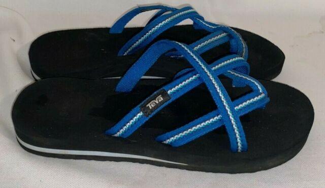 Women's Teva OLOWAHU Flip Flops Blue Multi Color Size 6