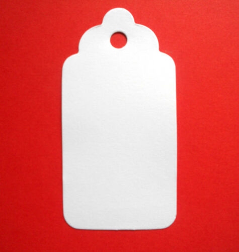 30 LARGE SCALLOPED GIFT TAGS PRICE LABELS WHITE
