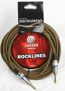 CARSON-20-Foot-Guitar-Lead-Instrument-Cable-NEW-Noiseless-Braided-Tweed