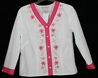 Telluride Clothing Co Women's 6 White Pink Floral Button Front V Neck Blouse