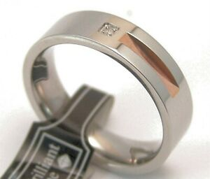 Genuine-Diamond-Gold-PVD-Comfort-Fit-Surgical-Steel-Wedding-Band-Men-039-s-Size-9-5