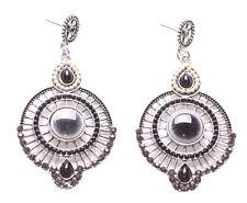 Midnight Tale-Gorgeous Black Beads & Diamante Sphere Metal Earrings(Ns12)
