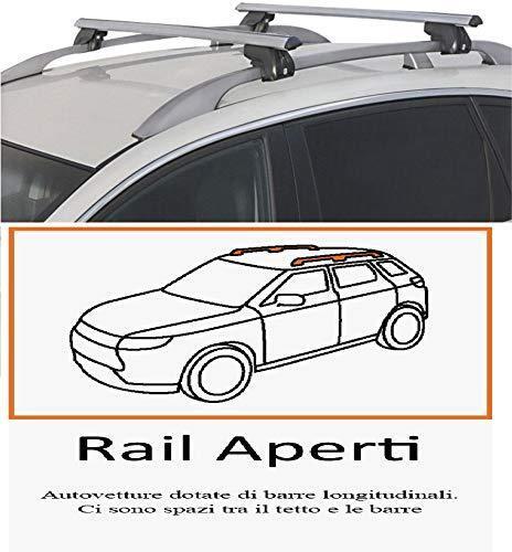 BARRE PORTAPACCHI PORTABAGAGLI ALLUMINIO 120 CM PER AUTO CON RAILS TRADIZIONALI