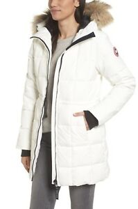 Canada-Goose-Beechwood-Down-Parka-Fur-Hood-Jacket-White-Women-s-Sz-Medium
