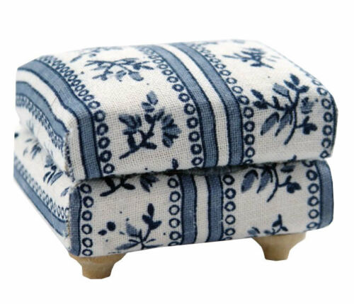 Blue /& White Flower motifs matelassés tabouret Maison de Poupées Miniature
