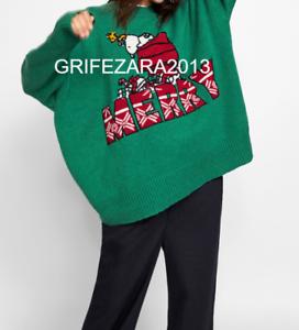 Zara Snoopy® 113 Pull 0021 Jacquard Ref Vert Peanuts® L 7wZU7