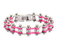 Women's Ladies Motorcycle Stainless Steel Crystal Pink Bike Chain Bracelet
