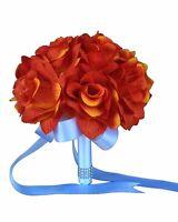8 Wedding Bouquet - Orange Artificial Open Rose Bouquet - Pick Ribbon Color