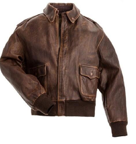 en vieilli Blouson pour cuir véritable brun marron homme A2 vachette cuir aviateur en aviateur de rO8wXr