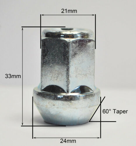 21mm Hex Alloy Dadi Delle Ruote 20 x m14 x 1.5 zinco
