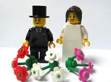Lego Wedding Minifigures Bride Long Brown Ponytail 3 Flowers & Groom