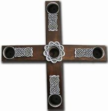 Cathedral Art AD133 Celtic Knot Wood Cross Advent Wreath Candle Holder, 8-Inch D
