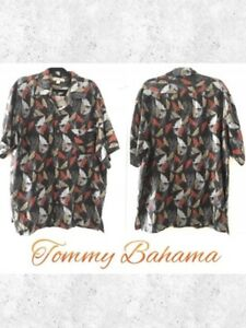 Tommy-Bahama-Sz-XL-Men-s-Leaf-Print-100-Silk-Button-Down-Shirt-Top