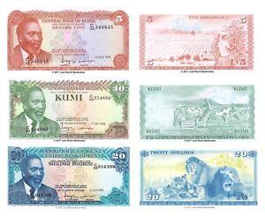Kenya-5-10-20-SCELLINI-1978-Set-di-3-BANCONOTE-3-PZ-UNC
