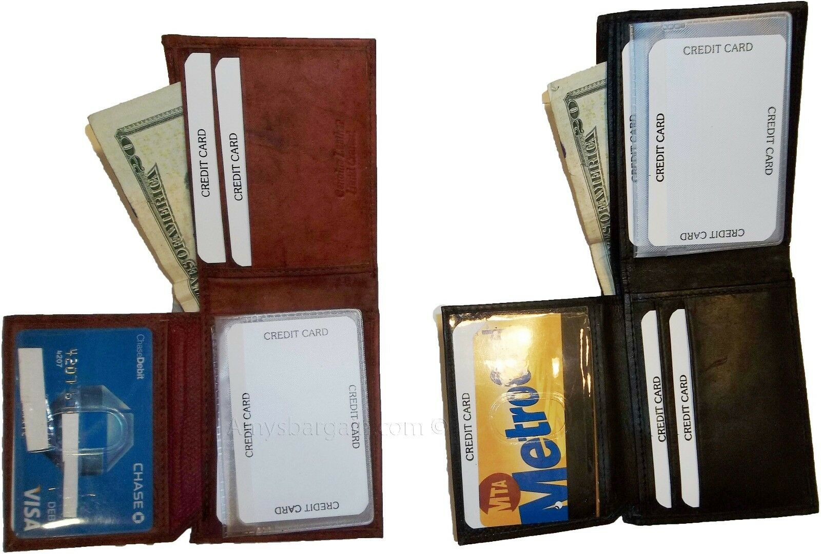 2 New style leather man's wallet 2 suede lined billfolds 1 zip 4 credits card ID