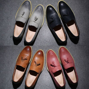 Mens-039-Oxford-Leather-Loafers-Casual-Tassel-Rope-Shoes-formal-Dress-Shoes-Slip-On