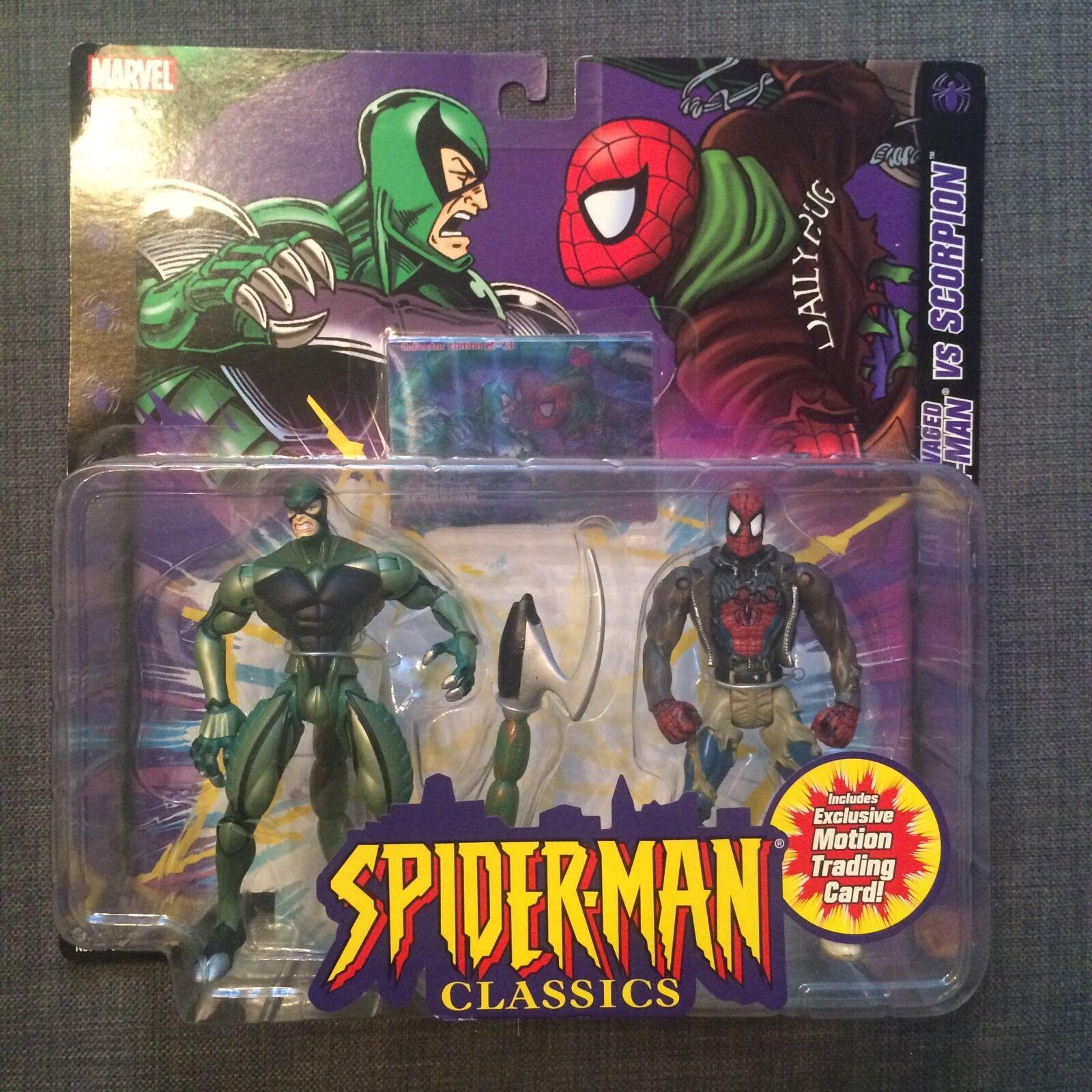 RARE BATTLE RAVAGED SPIDERMAN VS SCORPION Marvel Classics Exclusive Trading Card