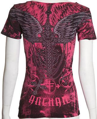 Archaic AFFLICTION Womens T-Shirt CHARMED CROSS Tattoo Biker UFC Sinful S-XL $40