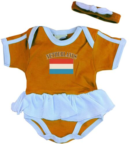 Nederland//Netherlands Baby Ruffle Baby Suit 3//6//9//12//18//24 Months World Cup