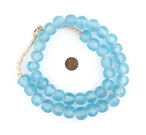 Baby Blue Recycled Glass Beads 18mm Ghana African Sea Glass Round Large Hole