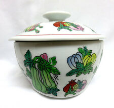 Chinese Porcelain Covered Serving Casserole Rice Bowl w/ Lid Colorful Vegetables