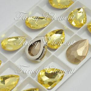 694657705f 18x25mm Glass Pear 4320 Citrine Yellow Crystal Sew On Rhinestone ...