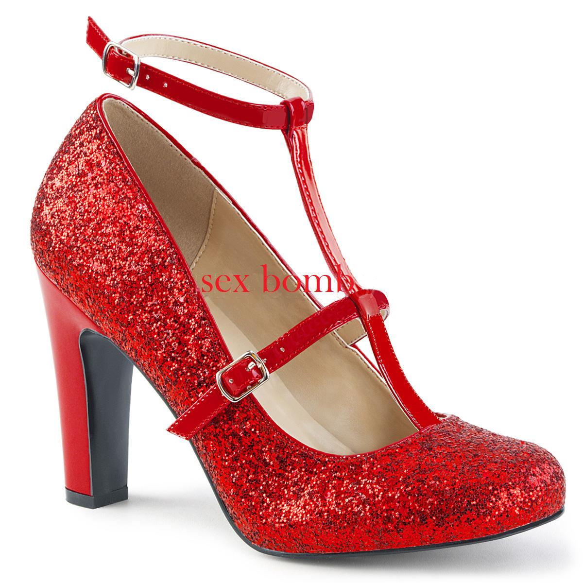 Sexy DECOLTE' GLITTER tacco 10 dal 39 al 46 ROSSO cinturino scarpe GLAMOUR