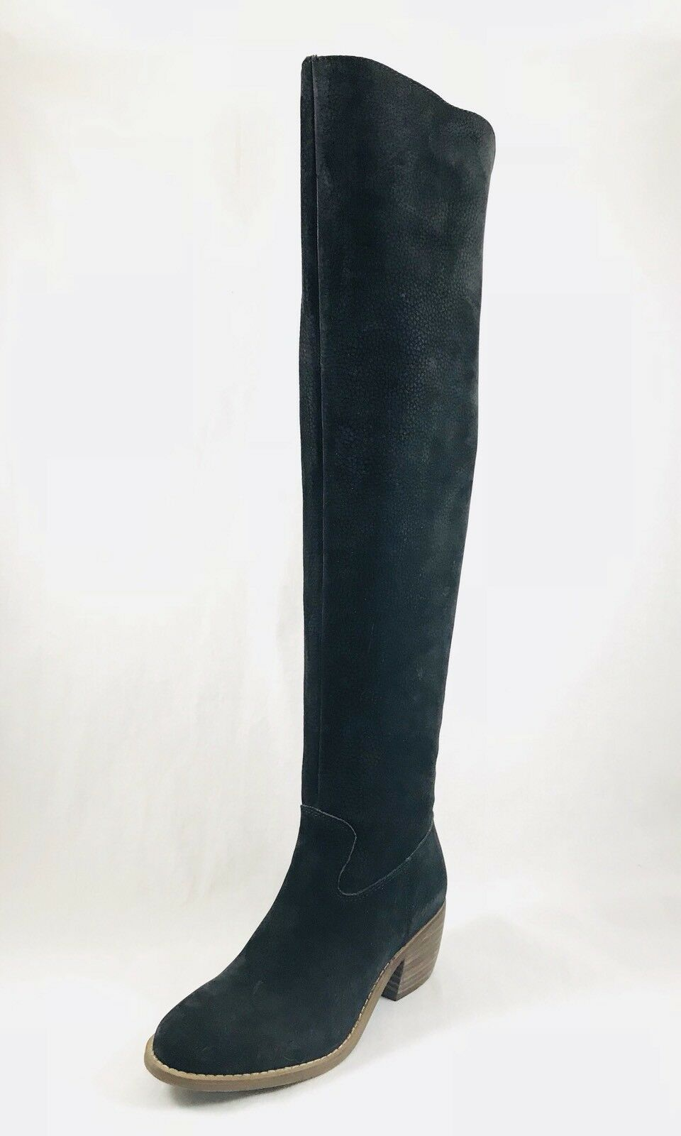 Lucky Brand Khlonn Womens Round Toe Leather Black Over the Knee Boot Size 6