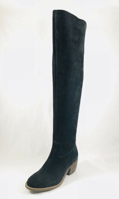 b4dfcf7078e Lucky Brand Khlonn Womens Round Toe Leather Black Over the Knee Boot Size 6