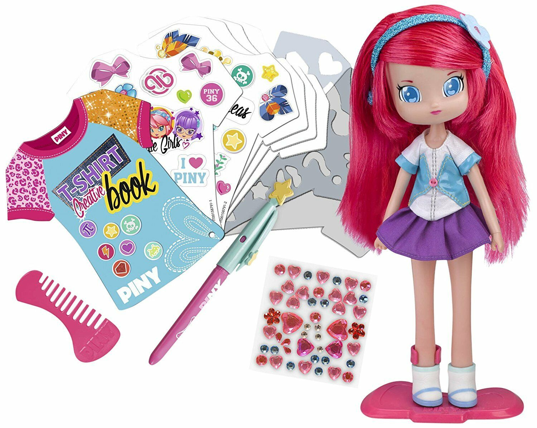 Muñecas PINY - Muñeca Michelle con Libro de Diseño Original Serie Original TV