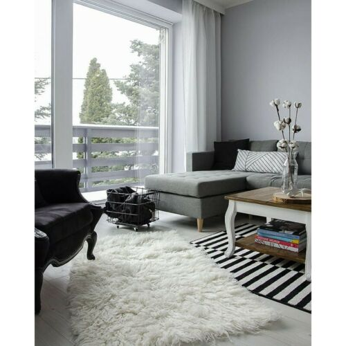 Cheap carpet flokati tierfellteppich long hair white stitched wool