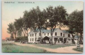 Grand-Detour-IL-Sheffield-Hotel-Vintage-Auto-Guests-on-Porch-c1910-Handcolored