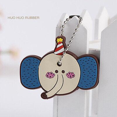 Stylish Korea Cute Animal Soft Key Top Head Cover Chain Cap Keyring Phone Strap