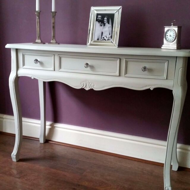 Grey Wood Console Table Dressing Vanity Hall Table With 3 Drawers French  Style
