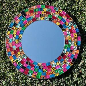 Mosaic-Mirror-Wall-Hanging-Rainbow-Coloured-Glass-Fair-Trade-Hand-Made-Mirrors