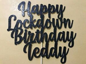 LockDown-Birthday-Cake-Topper-Any-Name-Age-Word-Any-Colour-Personalised-Black