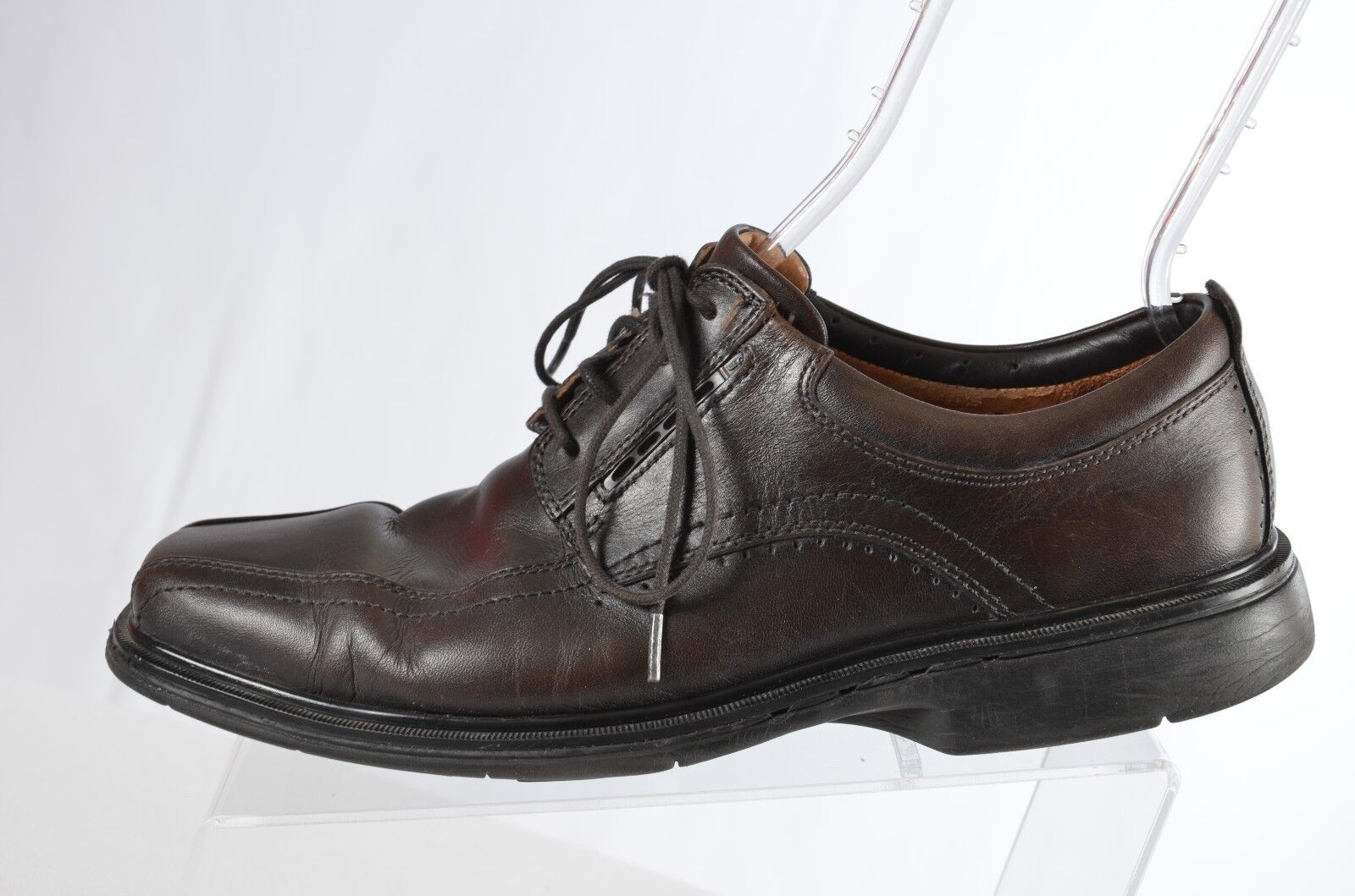 Clarks Structured Mens 9M  Leather Upper Square Toe Lace Up Dress shoes  (X)