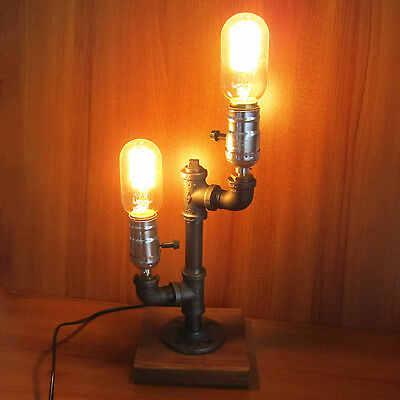 Iron Pipe Table Desk Lamp Light Retro Industrial Style Two Edison Light Bulb