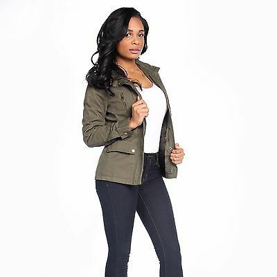HOT NEW CHIC OLIVE GREEN MILITARY STYLE ZIPPER JACKET