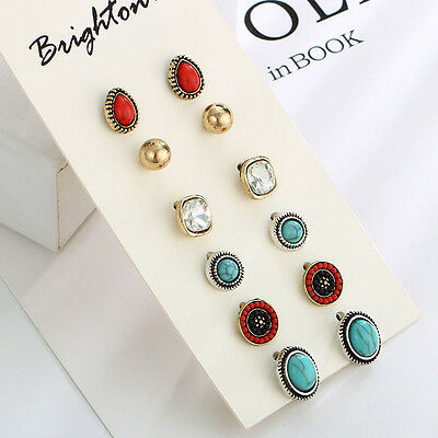 Multi-Color Fashion Red Stone Alloy & Rhinestone Earring Set Stud Earring