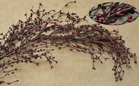 Country Primitive Floral Burgundy Berry Garland Pip Berries Swag Vine
