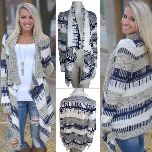 Womens Irregular Waterfall Cardigan Coat Poncho Long Sleeve Sweater Jumper