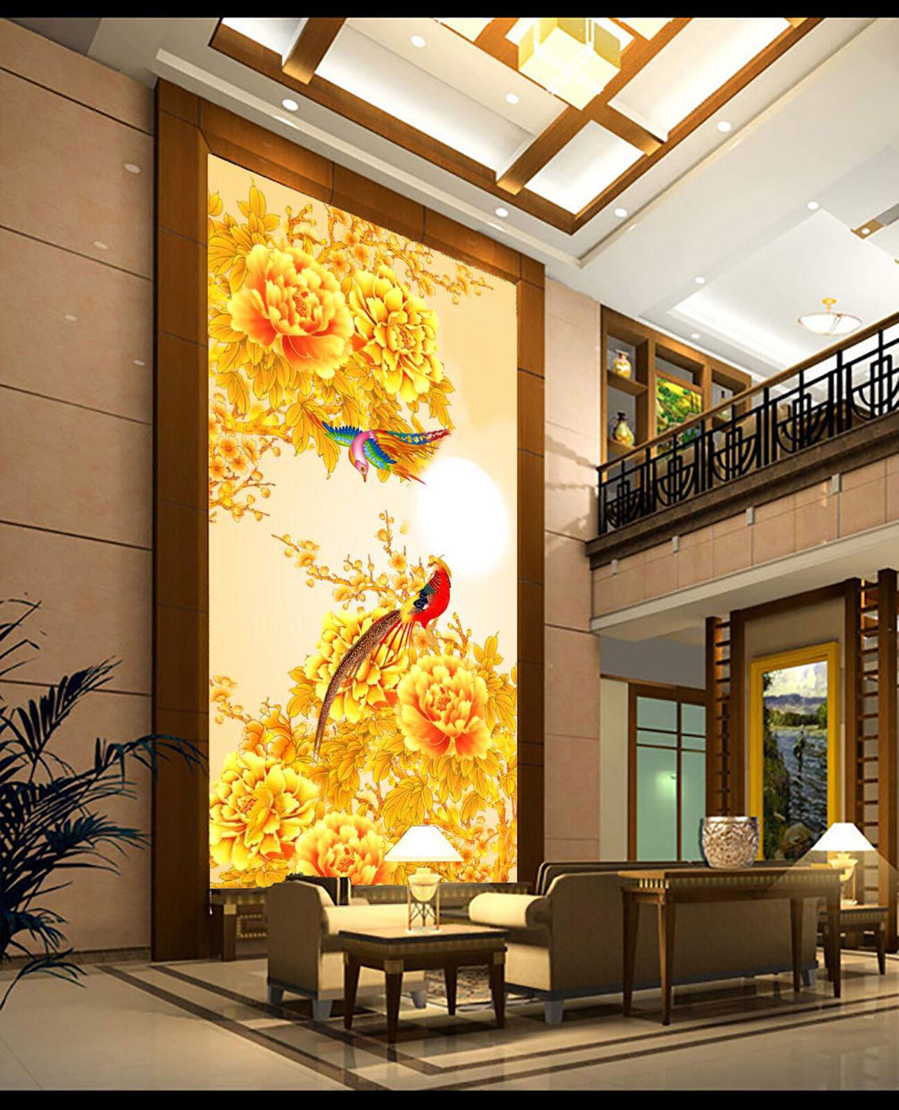 3D Fleur d'or Photo Papier Peint en Autocollant Murale Plafond Chambre Art