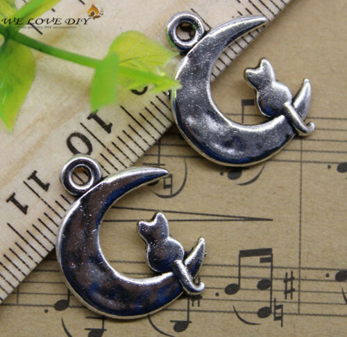 20//60//100pcs retro Jewelry Making Lovely moon cat alloy charms pendant 23x18mm